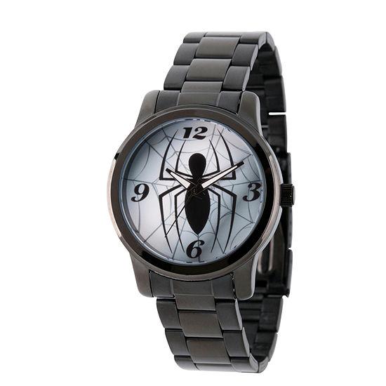 Spiderman Mens Black Stainless Steel Strap Watch-Wma000208