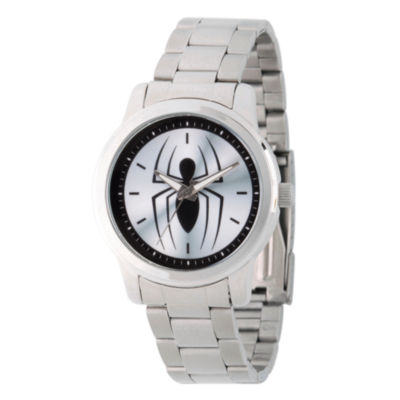 Spiderman Mens Silver Tone Strap Watch-Wma000209