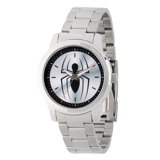 Spiderman Mens Silver Tone Stainless Steel Strap Watch-Wma000209