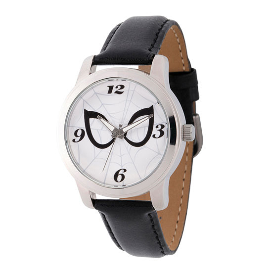 Marvel Spiderman Mens Black Leather Strap Watch-Wma000212