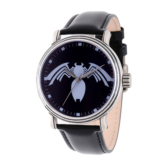 Spiderman Mens Black Leather Strap Watch-Wma000220
