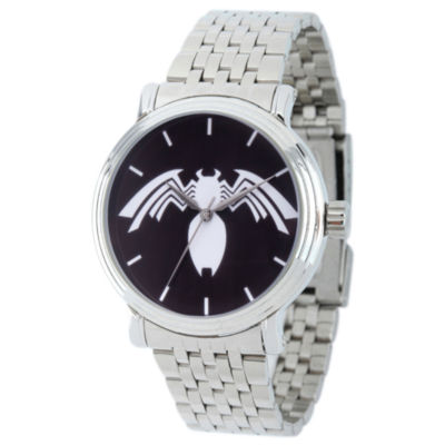 Spiderman Mens Silver Tone Strap Watch-Wma000221