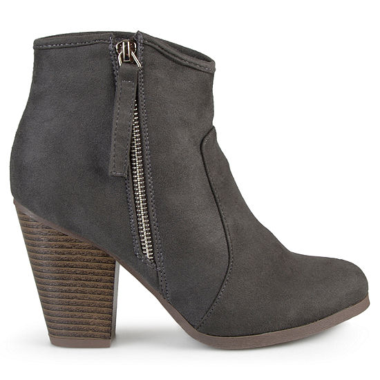Journee Collection Womens Link Booties Stacked Heel Wide Width