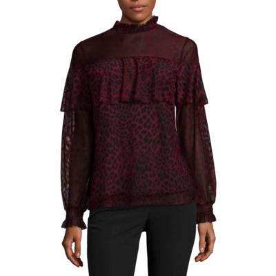 Worthington Long Sleeve Knit Blouse-Talls