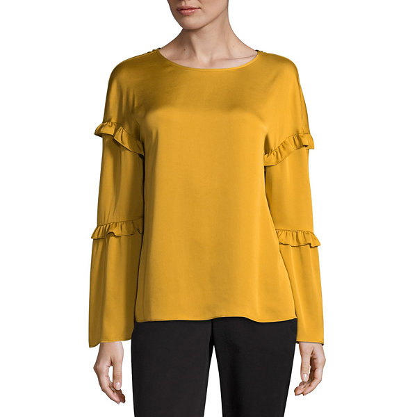 Worthington 3/4 Sleeve Scoop Neck Georgette Blouse - Tall