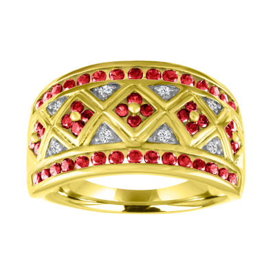 Womens Lab Created Red Ruby Gold Over Silver Cocktail Ring