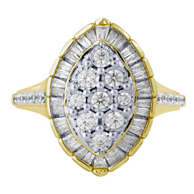 Womens 5/8 CT. T.W. Genuine White Diamond 10K Gold Cocktail Ring