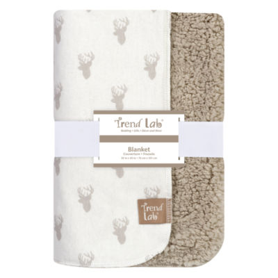 Trend Lab Gray Stag Head Flannel 1 Pair Receiving Blanket