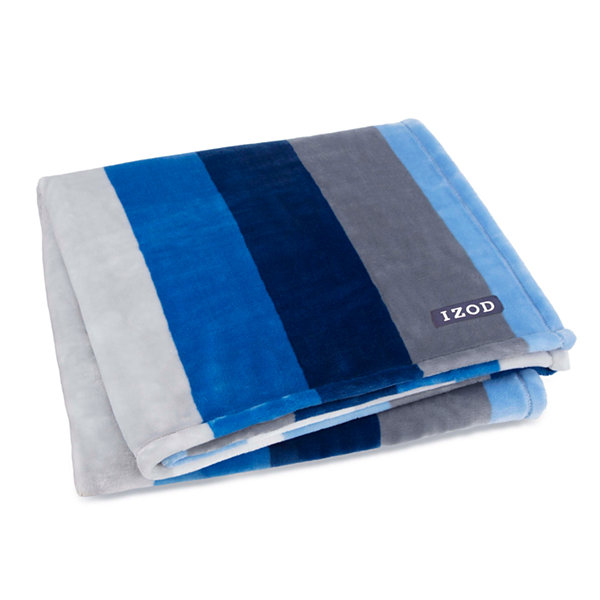 IZOD Banded Stripe Plush Throw