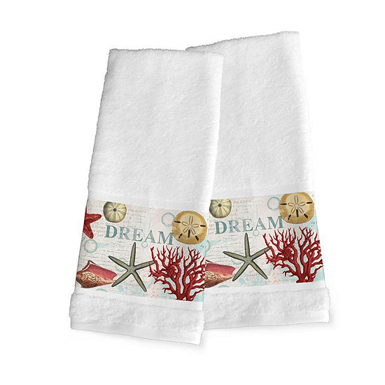 Laural Home Dream Beach Shells 2-pc. Beach + Nautical Hand Towel