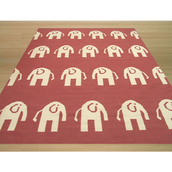 Eastern Rugs Handwoven Transitional Animal Elephant Dhurrie Rug
