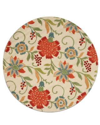 Eastern Rugs Hand-tufted Transitional Floral Spring Garden Round Rug