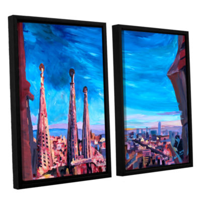 Brushstone Barcelona with Sagrada Familia 2-pc. Floater Framed Canvas Wall Art