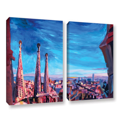 Brushstone Barcelona with Sagrada Familia 2-pc. Gallery Wrapped Canvas Wall Art