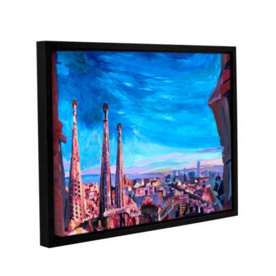 Brushstone Barcelona with Sagrada Familia GalleryWrapped Floater-Framed Canvas Wall Art