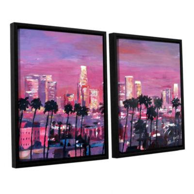 Brushstone Los Angeles Golden Skyline 2-pc. Floater Framed Canvas Wall Art