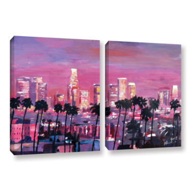 Brushstone Los Angeles Golden Skyline 2-pc. Gallery Wrapped Canvas Wall Art