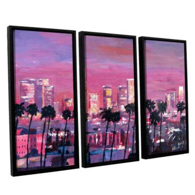 Brushstone Los Angeles Golden Skyline 3-pc. Floater Framed Canvas Wall Art