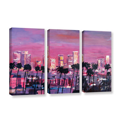 Brushstone Los Angeles Golden Skyline 3-pc. Gallery Wrapped Canvas Wall Art