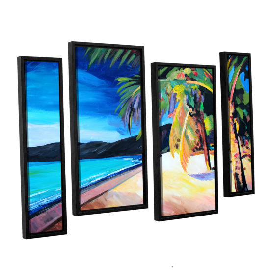 Brushstone Magen's Bay St. Thomas Virgin Islands 4-pc. Floater Framed Staggered Canvas Wall Art