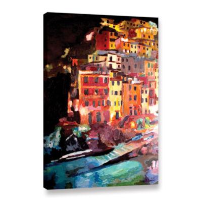 Brushstone Magic Cinque Terre Night Riomaggiore Gallery Wrapped Canvas Wall Art