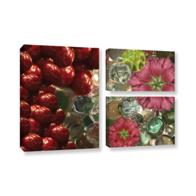 Brushstone Bricks  Braches  Watermelon 3-pc. FlagGallery Wrapped Canvas Wall Art