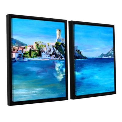 Brushstone Malcesine on Garda Lake with Castello 2-pc. Floater Framed Canvas Wall Art