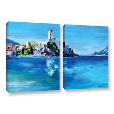 Brushstone Malcesine on Garda Lake with Castello 2-pc. Gallery Wrapped Canvas Wall Art