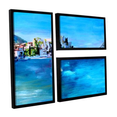 Brushstone Malcesine on Garda Lake with Castello 3-pc. Flag Floater Framed Canvas Wall Art