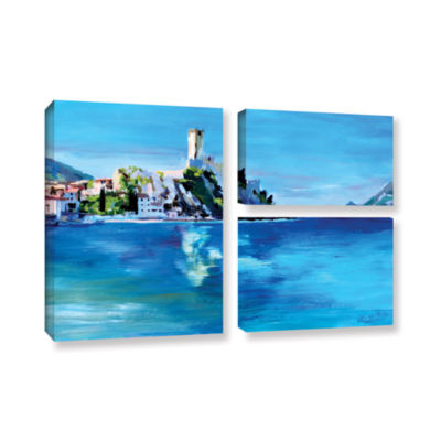 Brushstone Malcesine on Garda Lake with Castello 3-pc. Flag Gallery Wrapped Canvas Wall Art