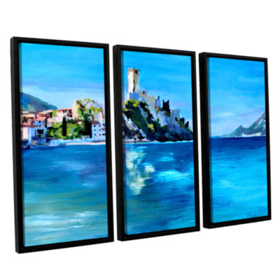 Brushstone Malcesine on Garda Lake with Castello 3-pc. Floater Framed Canvas Wall Art