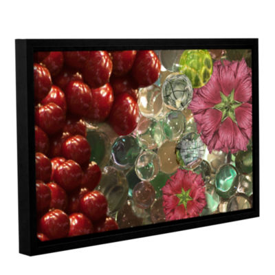 Brushstone Bricks Braches Watermelon Gallery Wrapped Floater-Framed Canvas Wall Art