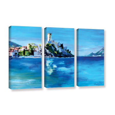 Brushstone Malcesine on Garda Lake with Castello 3-pc. Gallery Wrapped Canvas Wall Art