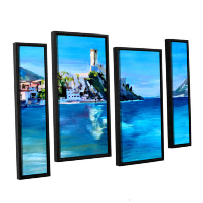 Brushstone Malcesine on Garda Lake with Castello 4-pc. Floater Framed Staggered Canvas Wall Art