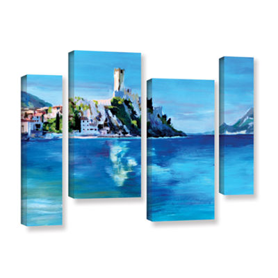 Brushstone Malcesine on Garda Lake with Castello 4-pc. Gallery Wrapped Staggered Canvas Wall Art
