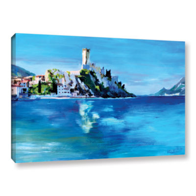Brushstone Malcesine on Garda Lake with Castello Gallery Wrapped Canvas Wall Art
