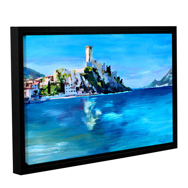 Brushstone Malcesine on Garda Lake with Castello Gallery Wrapped Floater-Framed Canvas Wall Art