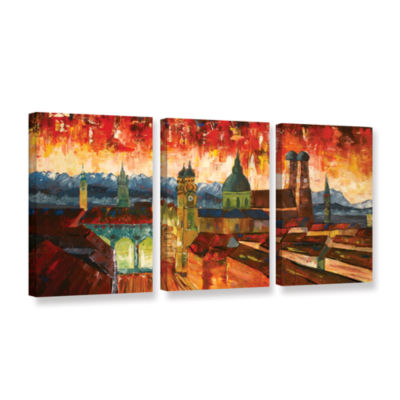 Brushstone Munich Skyline with Alps Panorama 3-pc.Gallery Wrapped Canvas Wall Art