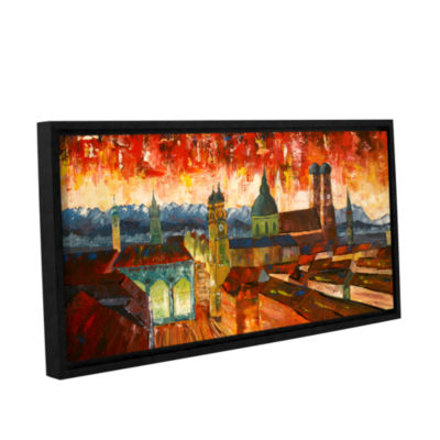 Brushstone Munich Skyline with Alps Panorama Gallery Wrapped Floater-Framed Canvas Wall Art