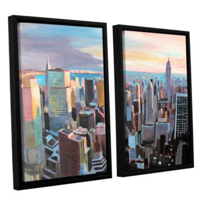 Brushstone New York City Skyline in Sunlight 2-pc.Floater Framed Canvas Wall Art