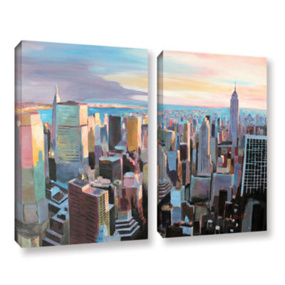 Brushstone New York City Skyline in Sunlight 2-pc.Gallery Wrapped Canvas Wall Art