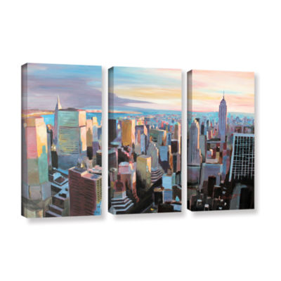 Brushstone New York City Skyline in Sunlight 3-pc.Gallery Wrapped Canvas Wall Art