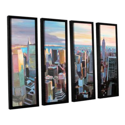 Brushstone New York City Skyline in Sunlight 4-pc.Floater Framed Canvas Wall Art
