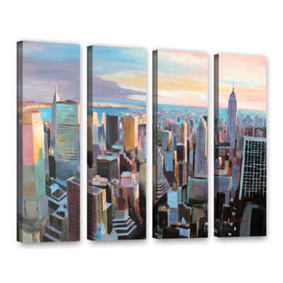 Brushstone New York City Skyline in Sunlight 4-pc.Gallery Wrapped Canvas Wall Art
