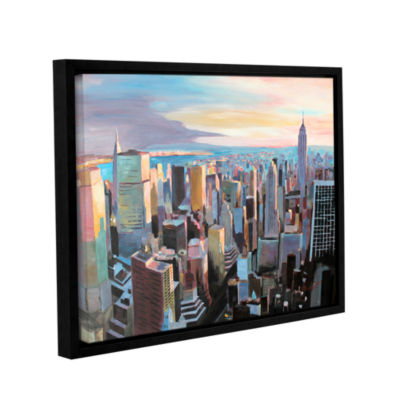 Brushstone New York City Skyline in Sunlight Gallery Wrapped Floater-Framed Canvas Wall Art