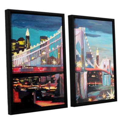 Brushstone New York City-Manhattan Bridge 2-pc. Floater Framed Canvas Wall Art