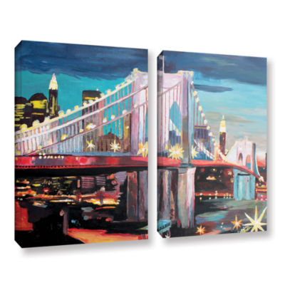 Brushstone New York City-Manhattan Bridge 2-pc. Gallery Wrapped Canvas Wall Art