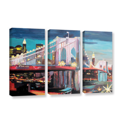 Brushstone New York City-Manhattan Bridge 3-pc. Gallery Wrapped Canvas Wall Art