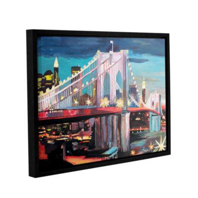 Brushstone New York City-Manhattan Bridge GalleryWrapped Floater-Framed Canvas Wall Art