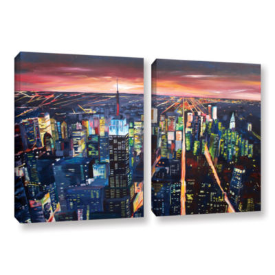 Brushstone New York City-The Empire State Buildingat Night 2-pc. Gallery Wrapped Canvas Wall Art